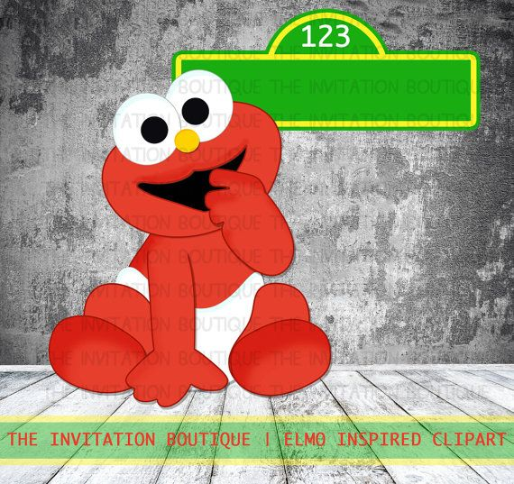 BABY ELMO Clipart Hand Drawn Digital File INSTANT Download