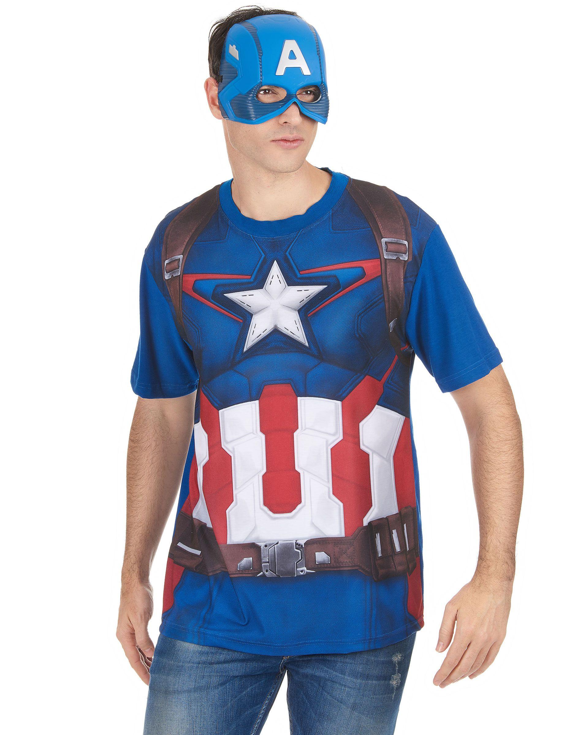 set aus t shirt und maske im captain america look. Black Bedroom Furniture Sets. Home Design Ideas