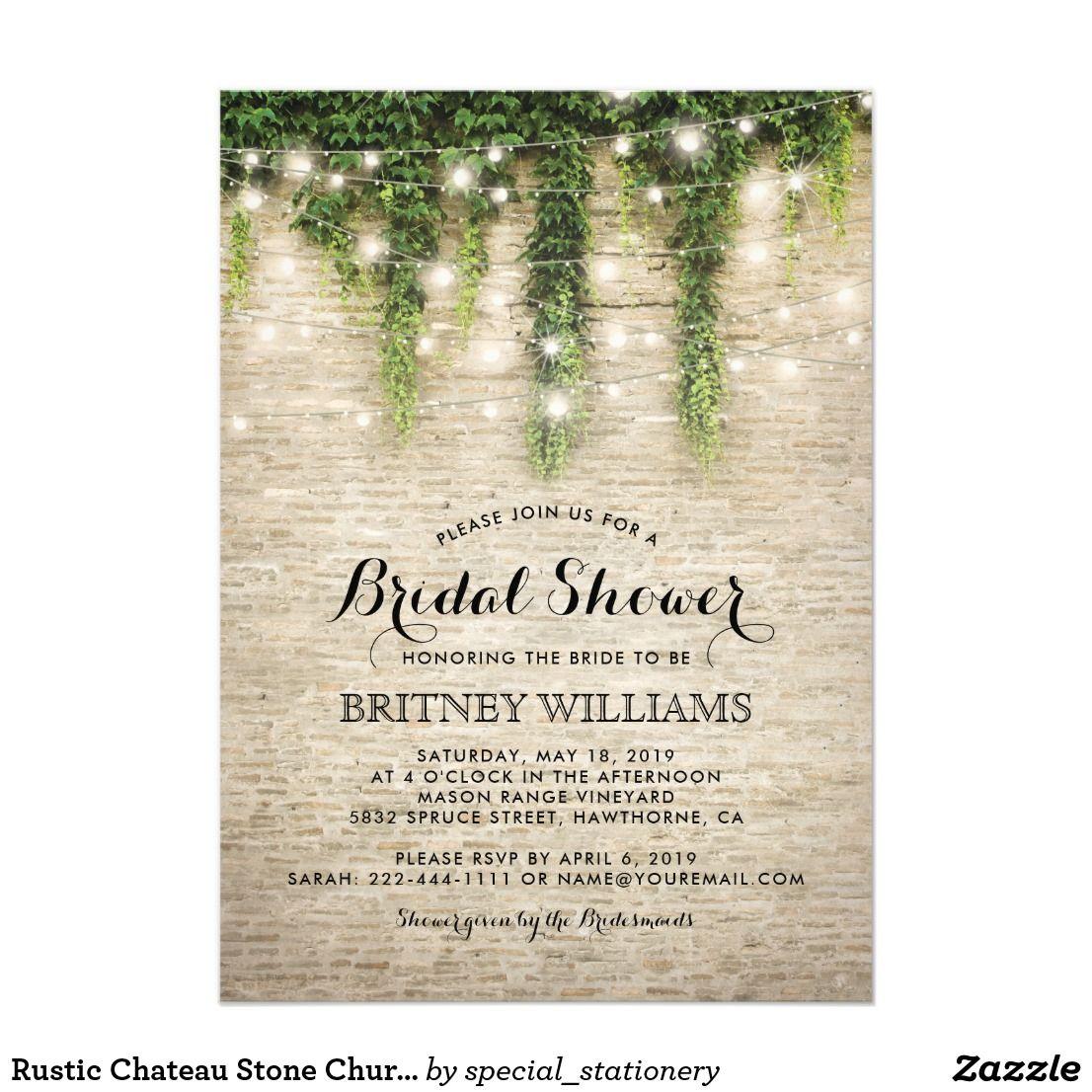 Rustic Chateau Stone Church Wedding Bridal Shower Card  Bridal