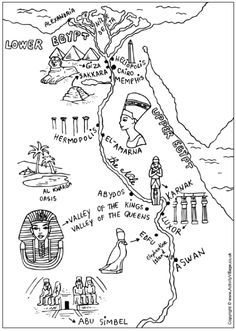 Ancient Egypt map colouring pages. Great material to add