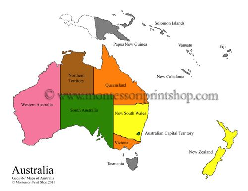 Montessori Geography Maps of Australia - Color Maps and Blackline - new world map fiji country