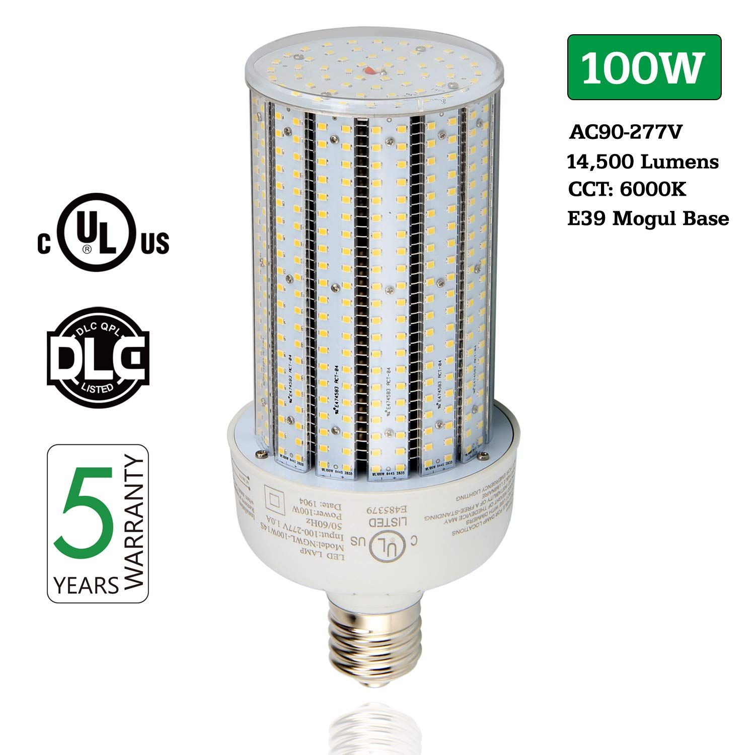 Led Corn Light Bulb 100w 14500lm 6000k Cool White Corn Led Bulbs Ac90 277v E39 Mogul Base Replace 400w Hps Hid Metal Halide Lamp Fo Led Bulb Bulb Light Bulb