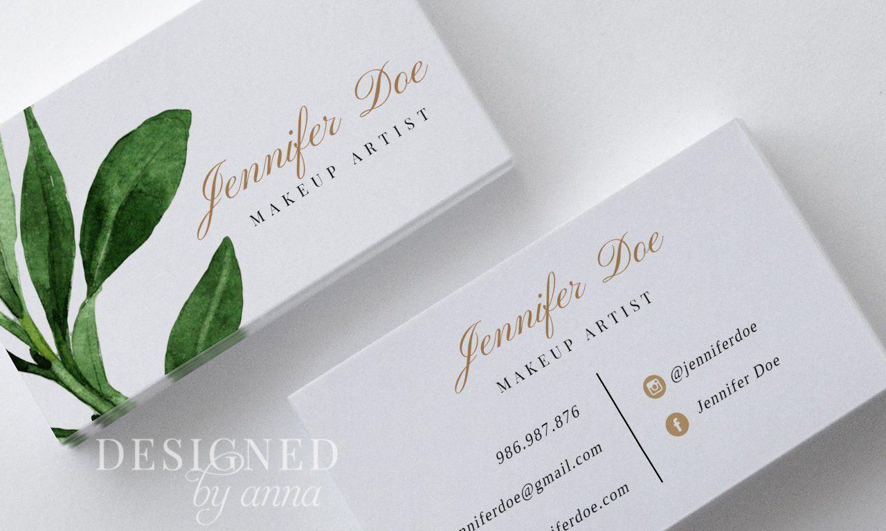 Greenery Business Card Design Printable Busienss Card Template Etsy Card Design Business Card Design Business Card Templates Download