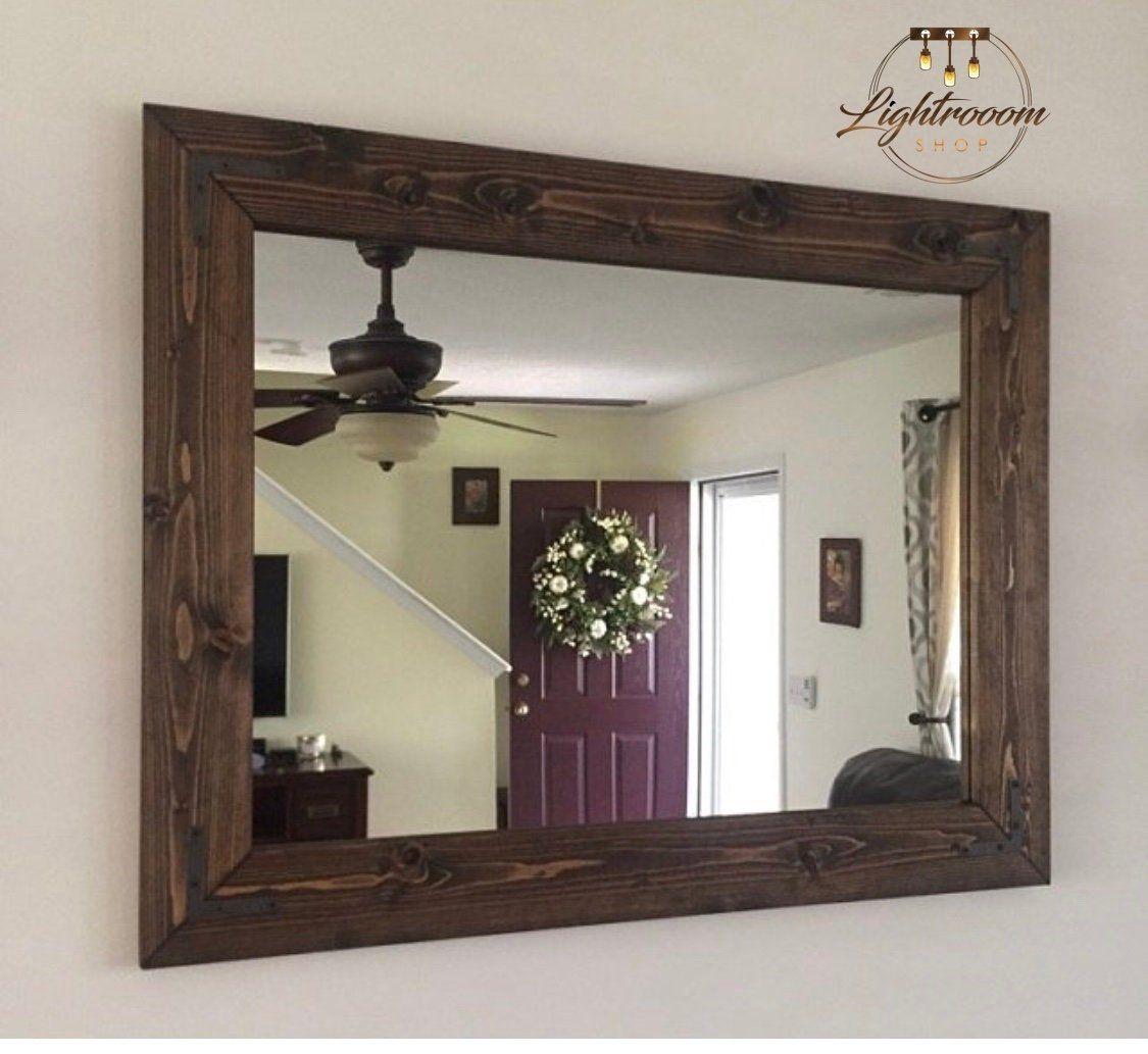 Espresso Mirror Farmhouse Wood Frame Mirror Rustic Wood Mirror