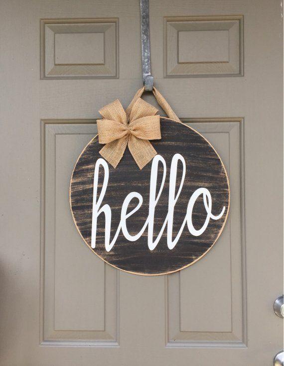 This Cute Hello Door Hanger Is A Fun Way To Welcome Your Friends Family And Guests To Your Home B Spring Door Decoration Door Decorations Rustic Door Decor