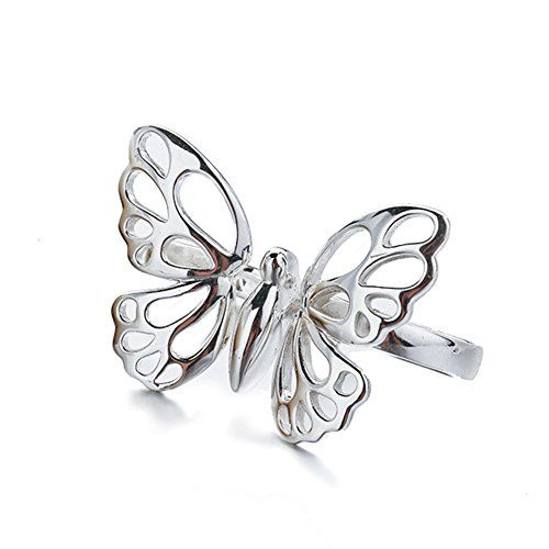 Womens 925 Sterling Silver Vintage Filigree Butterfly Statement Ring