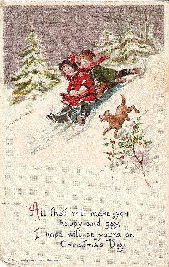 Christmas Postcards.Brundage 1912 Christmas Card Children Dog Sleigh Merry