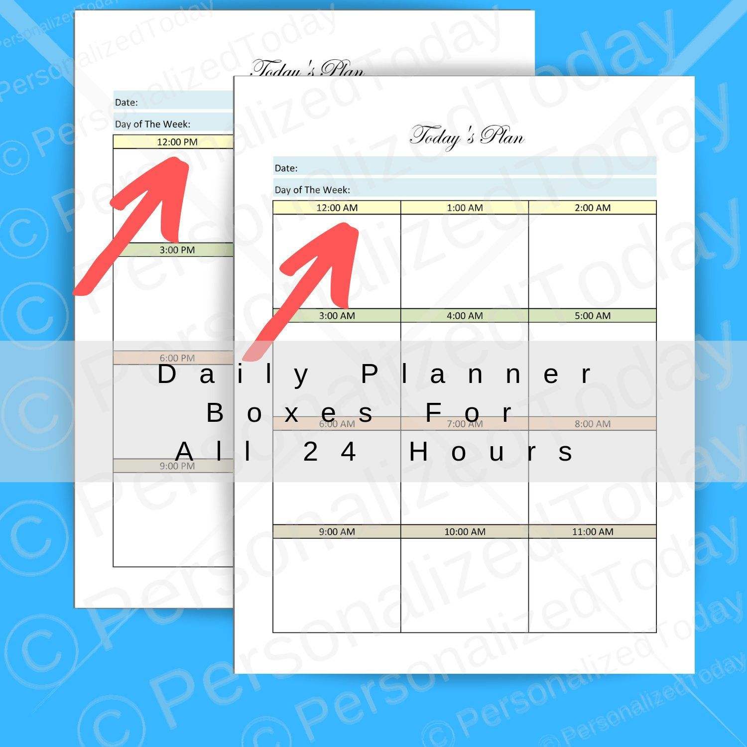 Printable 2 Page Blank Undated Daily Planner 12 Or 24