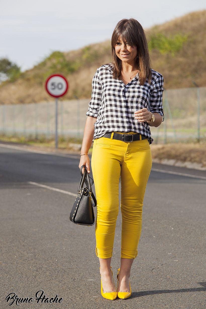 A Cuadros La Huella De Mis Tacones Ropa De Moda Ropa Amarilla Moda De Ropa