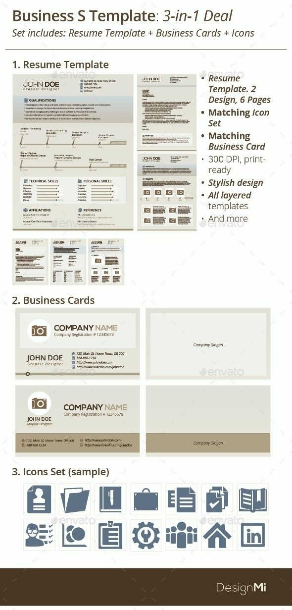 in-1 Deal Resume Template + Icons + Business Card, Periwinkle S - resume deal