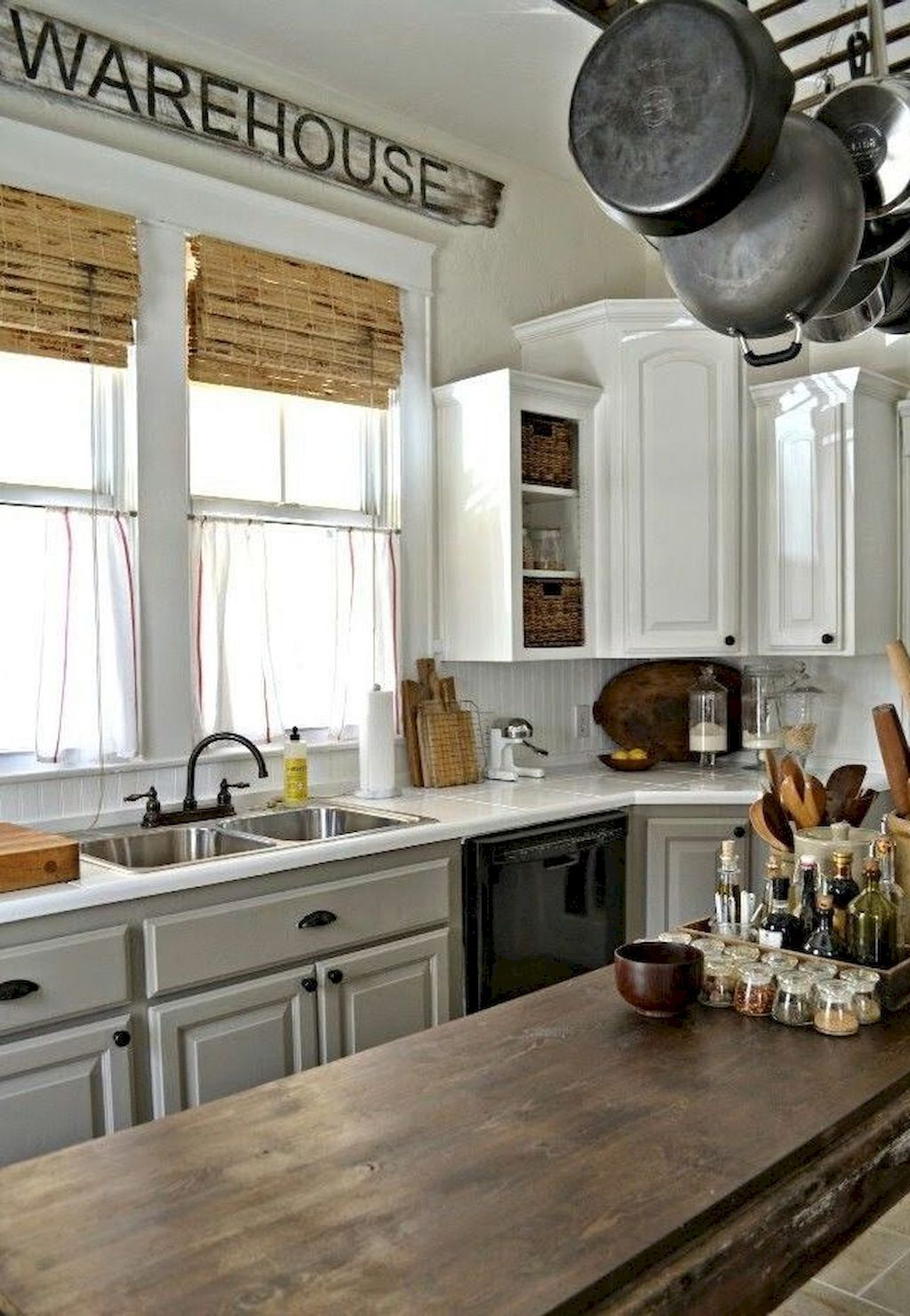 Awesome 85 Incredible Farmhouse Gray Kitchen Cabinets Decor Ideas ...