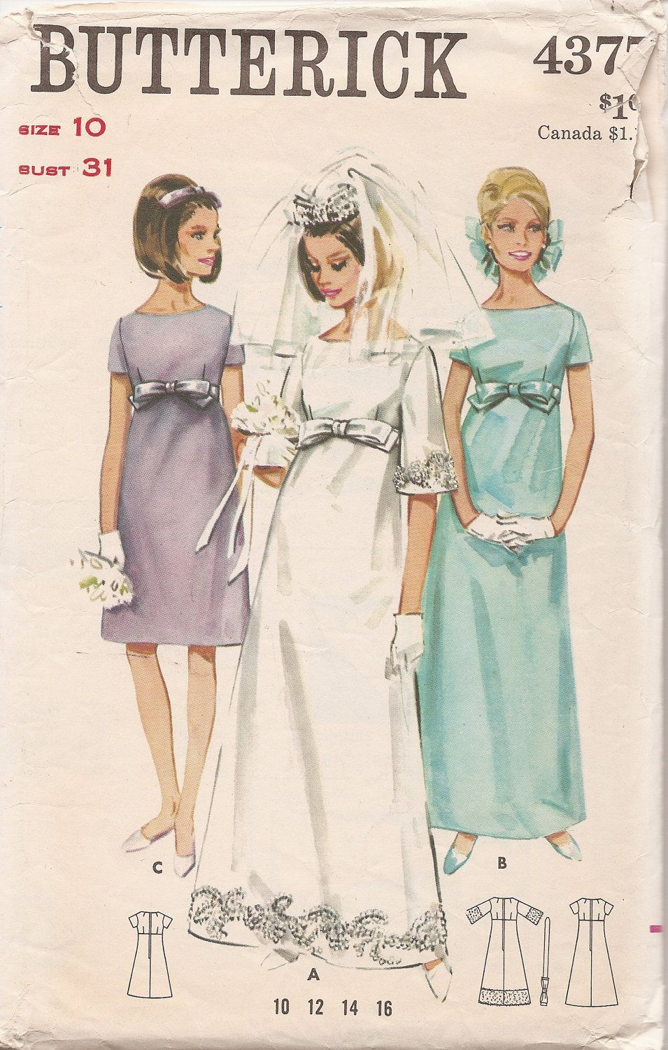 60s bridal inspiration the 60s pinterest empire waist bridal dress bridesmaid dress butterick 4377 vintage sewing pattern via etsy ombrellifo Image collections