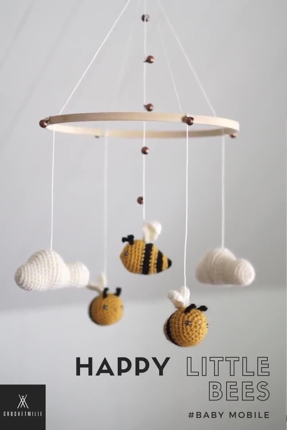 """Photo of Baby mobile """"The happy bees """" – nature theme nursery – crochet – neutral – clouds – baby shower gift"""