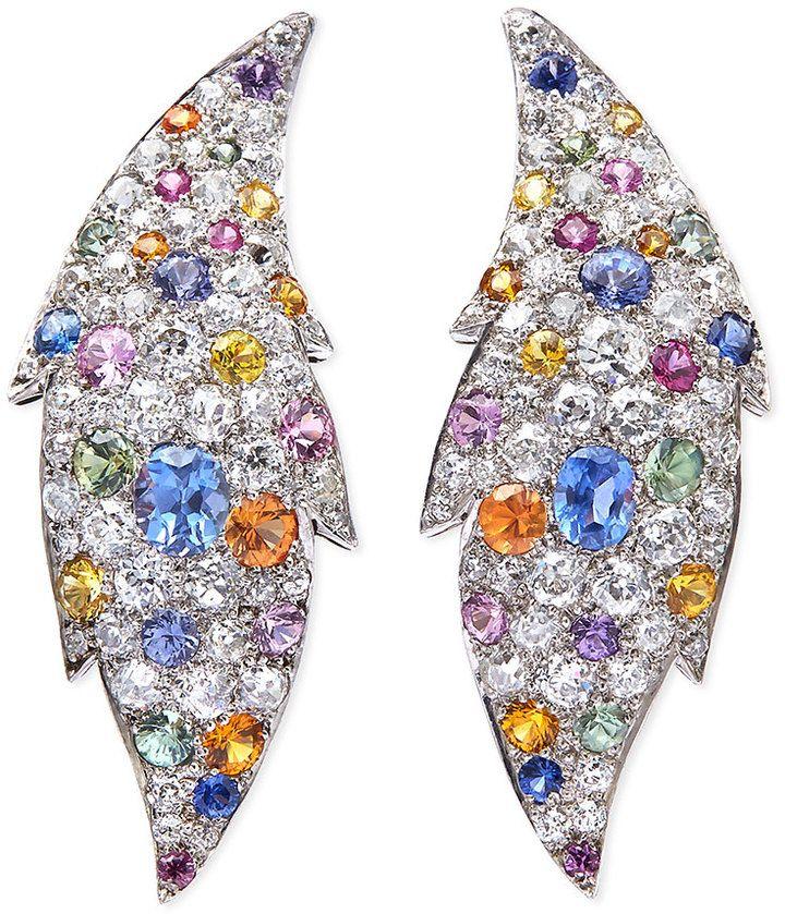 NM Estate Jewelry Collection Estate Art Deco Diamond & Sapphire Flame Earrings