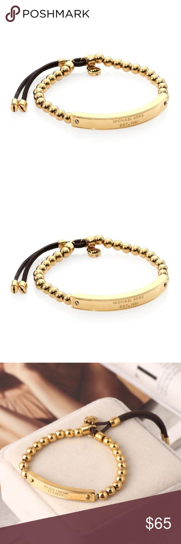 a7cf0796efad4 Michael Kors Heritage Plaque Beaded Bracelet Michael Kors Gold Heritage  Plaque Logo Beaded Leather Bracelet New
