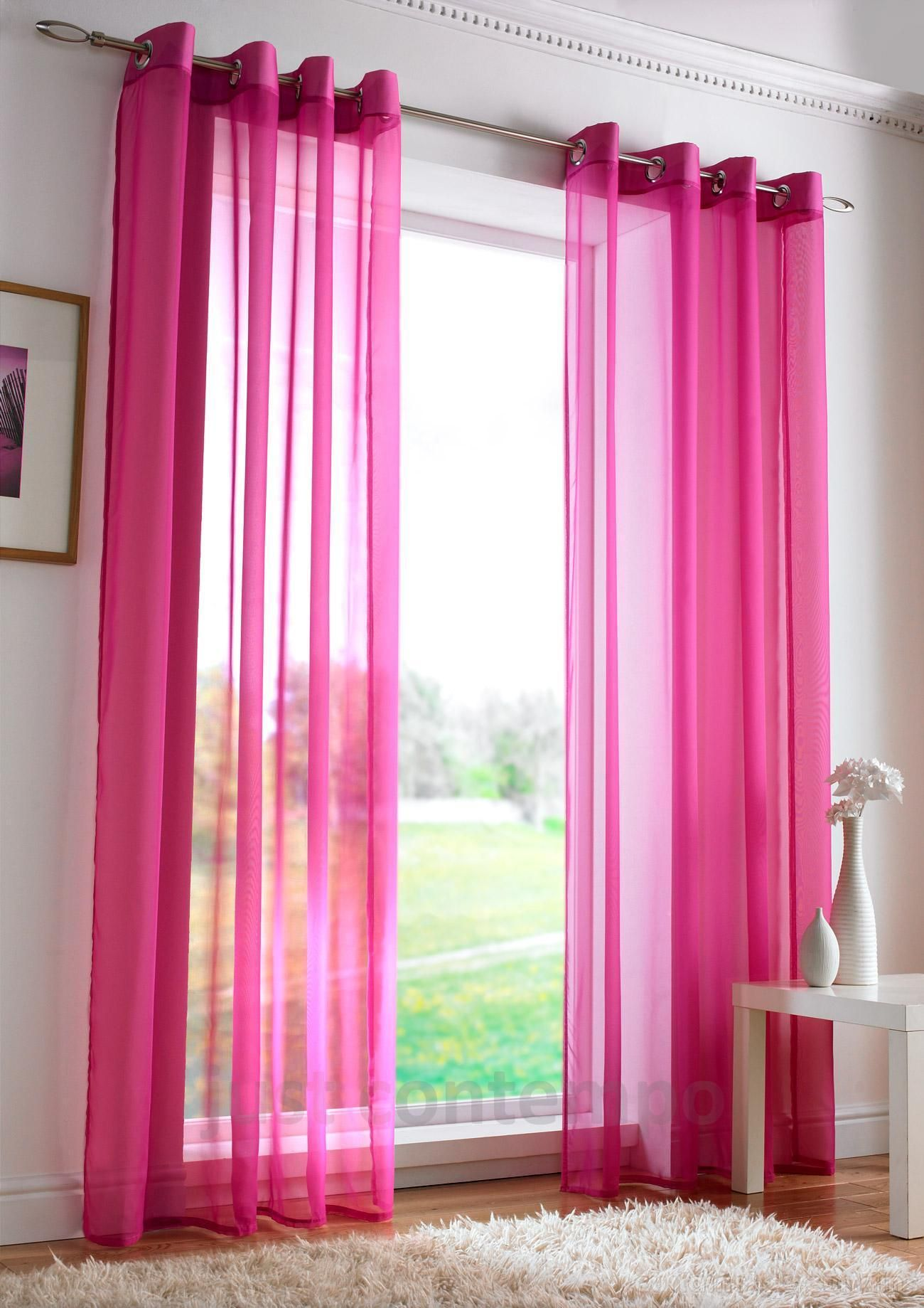 Cerise Pink Net Curtains Pink Sheer Curtains Pink Curtains Curtains