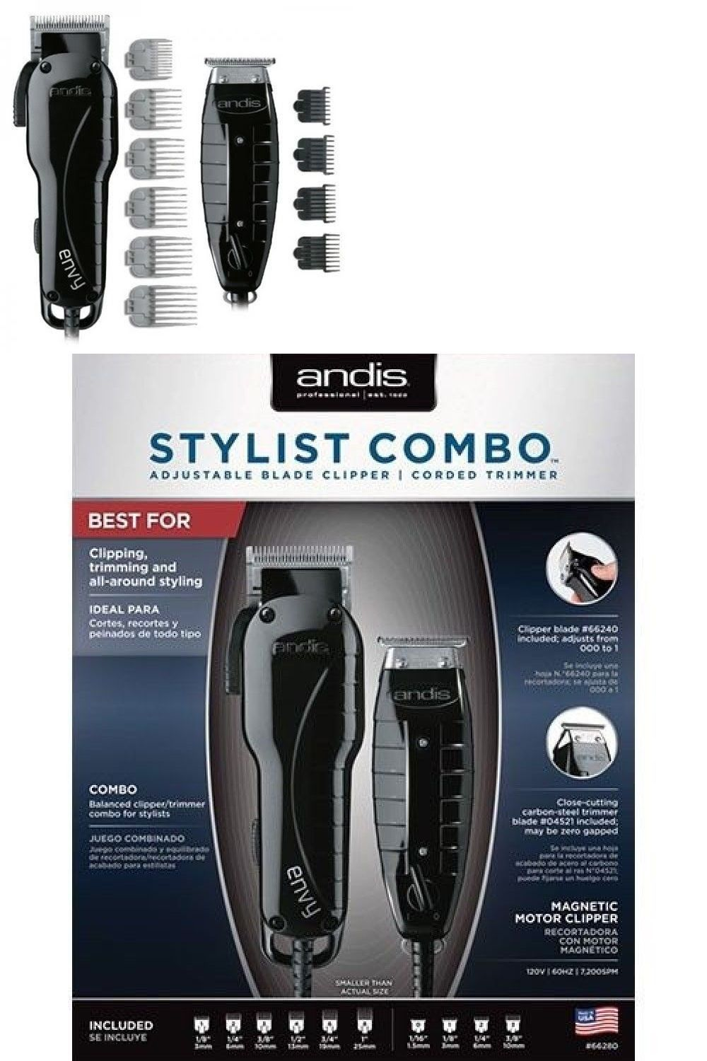 Clippers And Trimmers Andis Professional Stylist Combo T Outliner Trimmer Envy Clipper Black