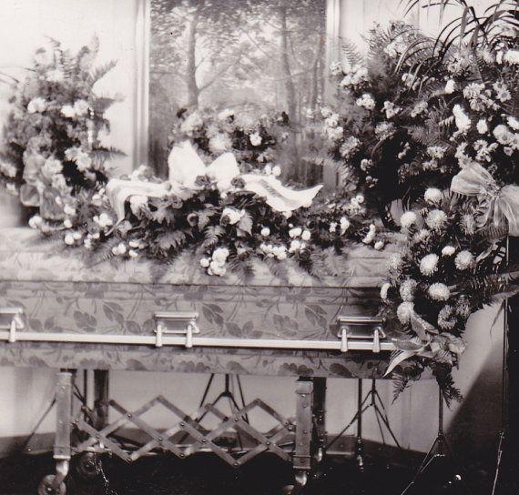 Deluxe Floral Casket Funeral Flowers 1940s Vintage