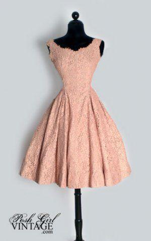 Vintage 1950s antique pink lace and pearls tea length dress <3 | via Posh Girl Vintage