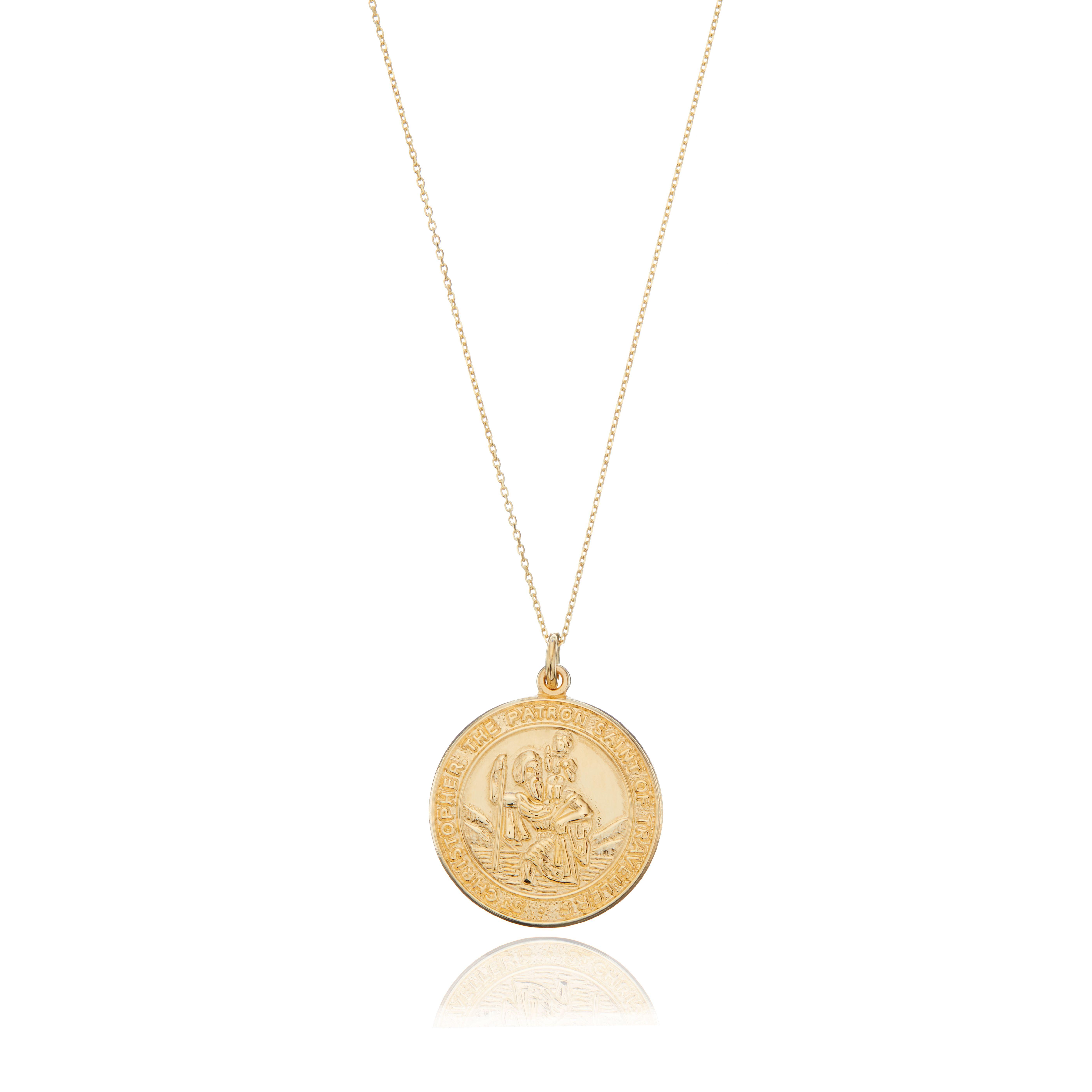 9ct Gold St Christopher Medallion Stud Earrings