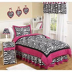 Sweet Jojo Designs Pink Black White Zebra Print 3 Piece