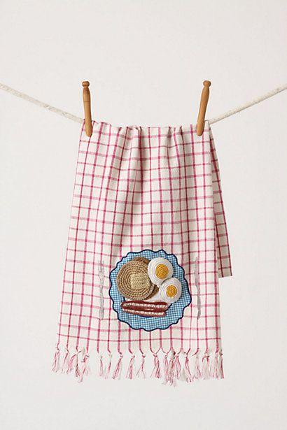 First Eats Tea Towel, Eggs & Bacon - anthropologie.eu