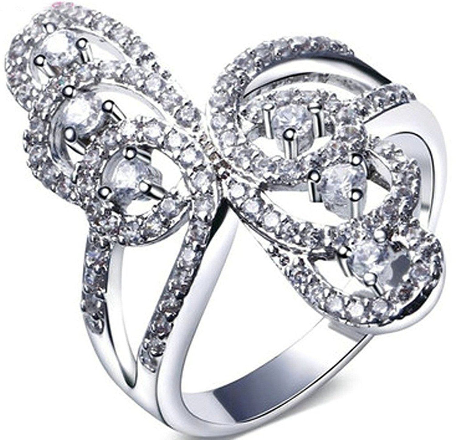 Alimab Jewelery Rings Gold Plated Womens Promise Rings Butterfly