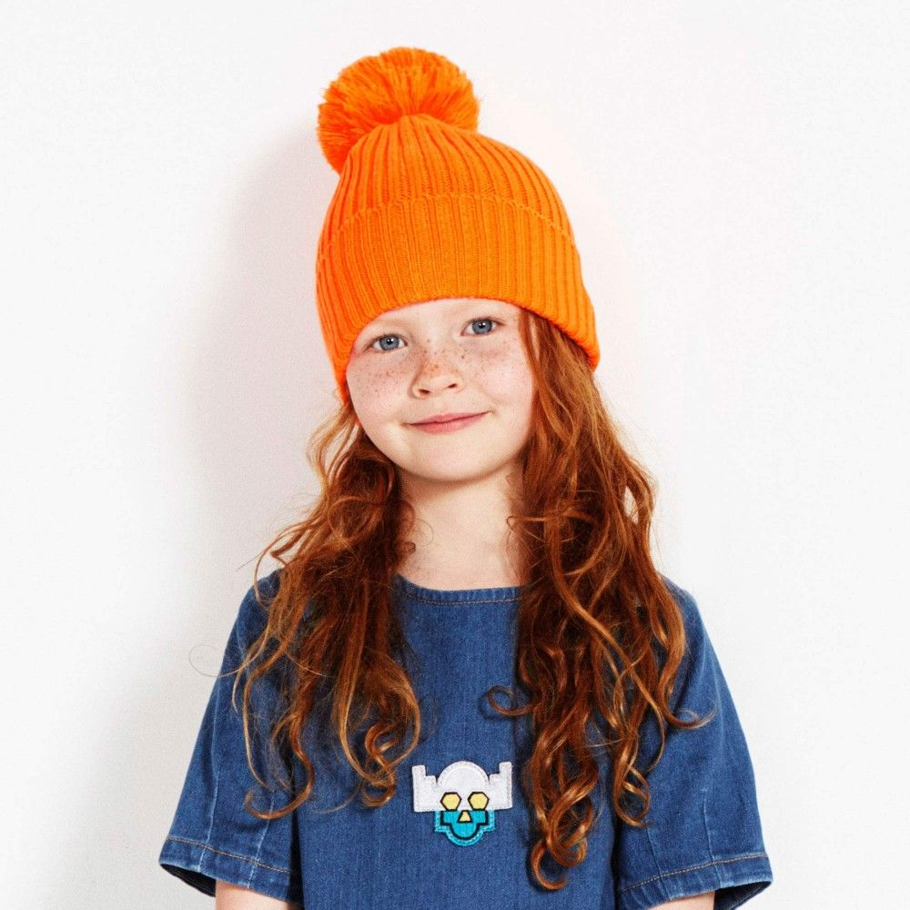 Stella McCartney Kids - Orange 'Tweedle' Bobble Hat