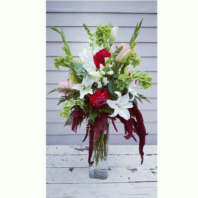 Amaranthus Lilies Dahlias Bells Of Ireland With Peach Roses And