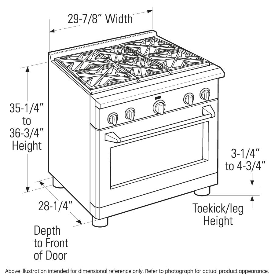 Dimensional Diagramge Monogram 30 U0026quot  All Gas Professional