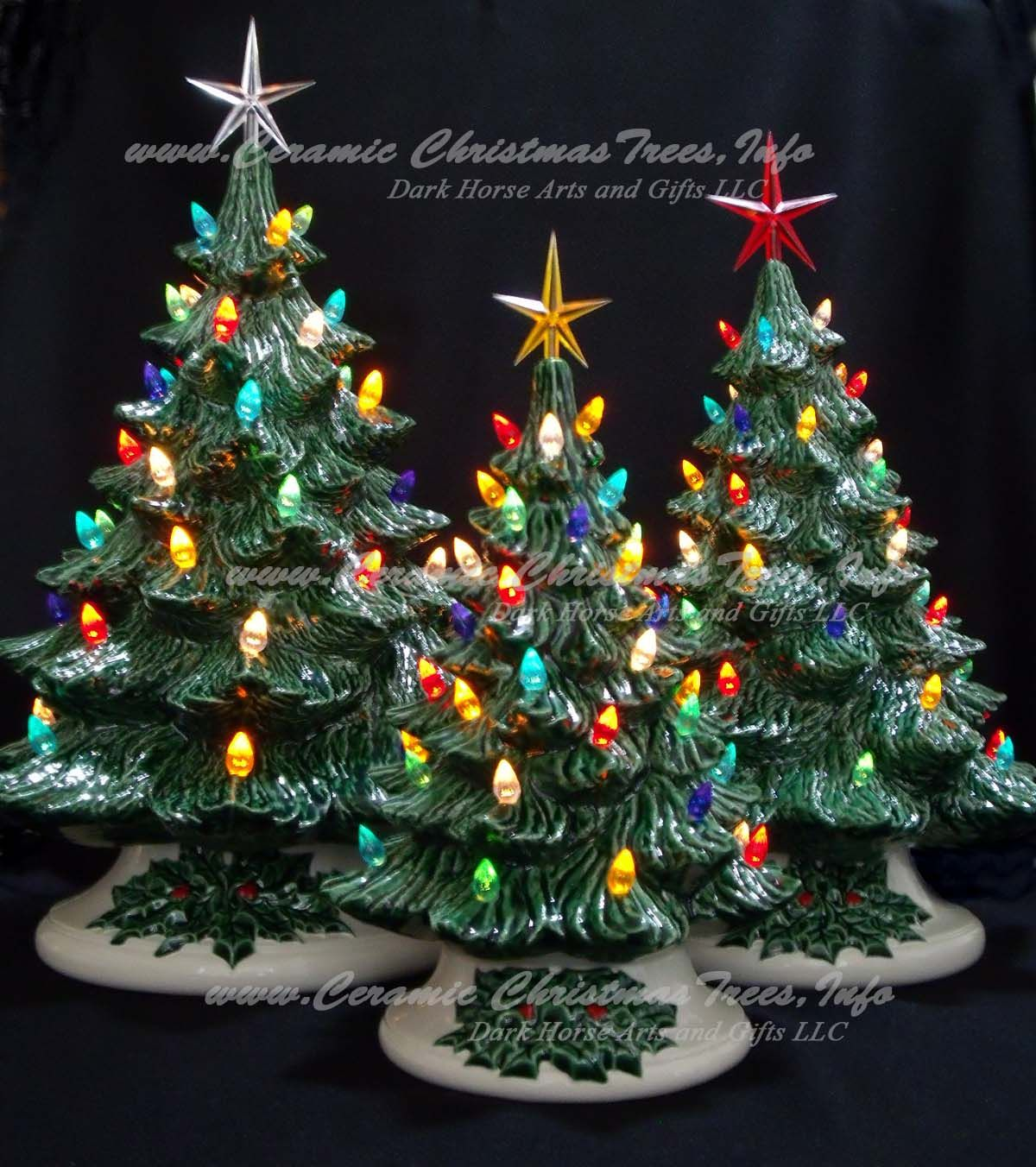Old Fashioned Ceramic Christmas Tree Collection - 3 Trees ...
