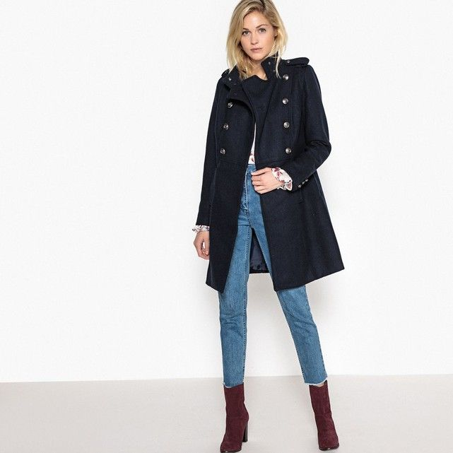 classic style pretty nice buy popular Manteau militaire long 55 % laine La Redoute Collections ...