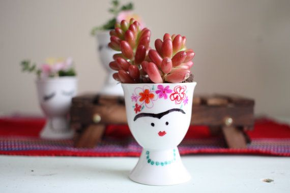 Frida Succulent Planters, Hand Painted, Easy Care, Light Moisture Well  Lighted Area And Design Inspirations