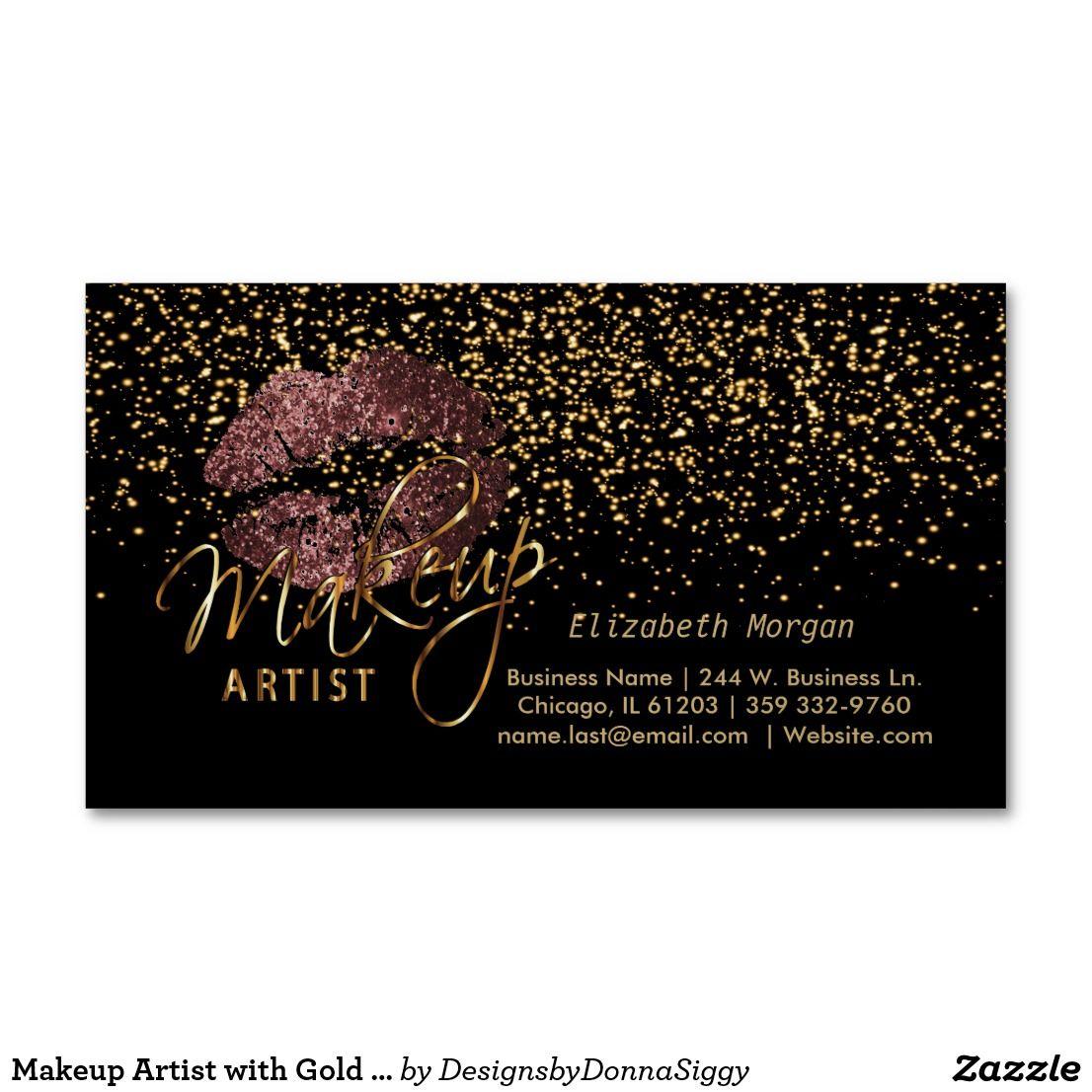 Makeup Artist with Gold Confetti & Dark Rose Lips Business Card Magnet | Elegant Make up artist beauty professional business card | #businesscards #businesscard