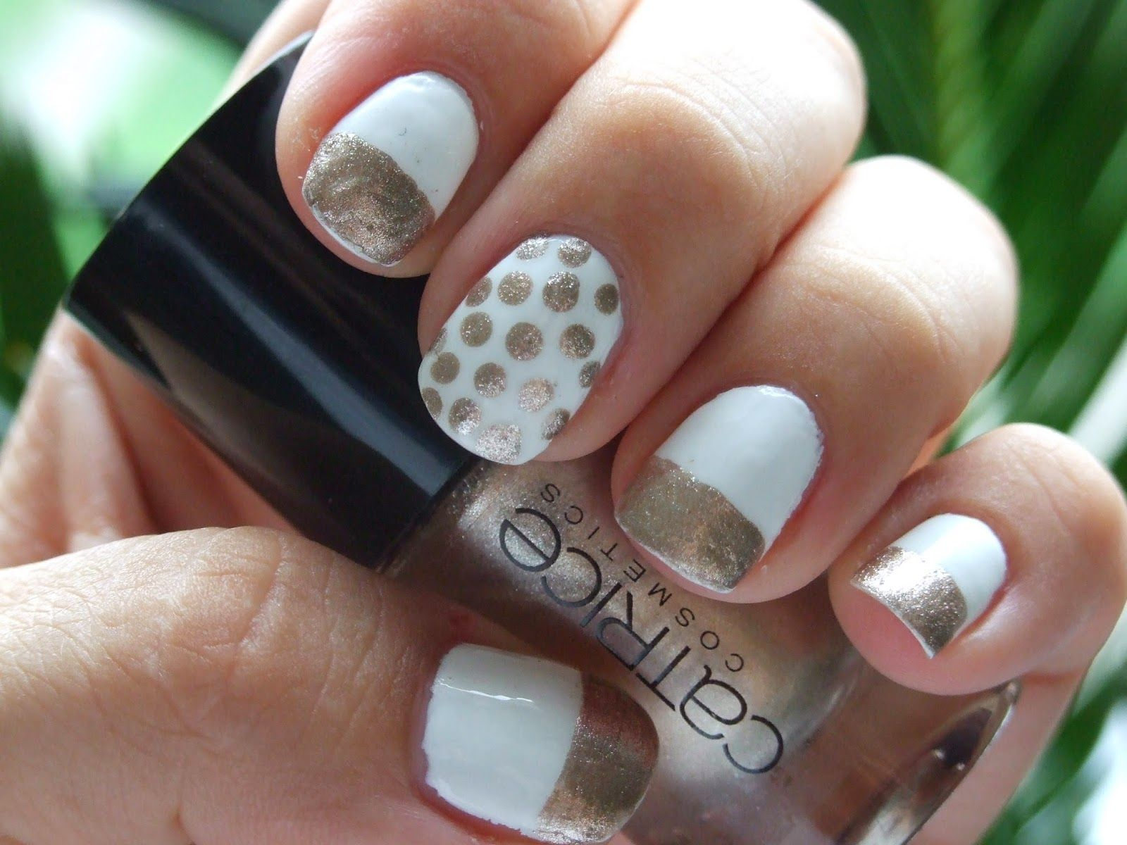 Catrice and Sally Hansen, white gold polka dot french manicure