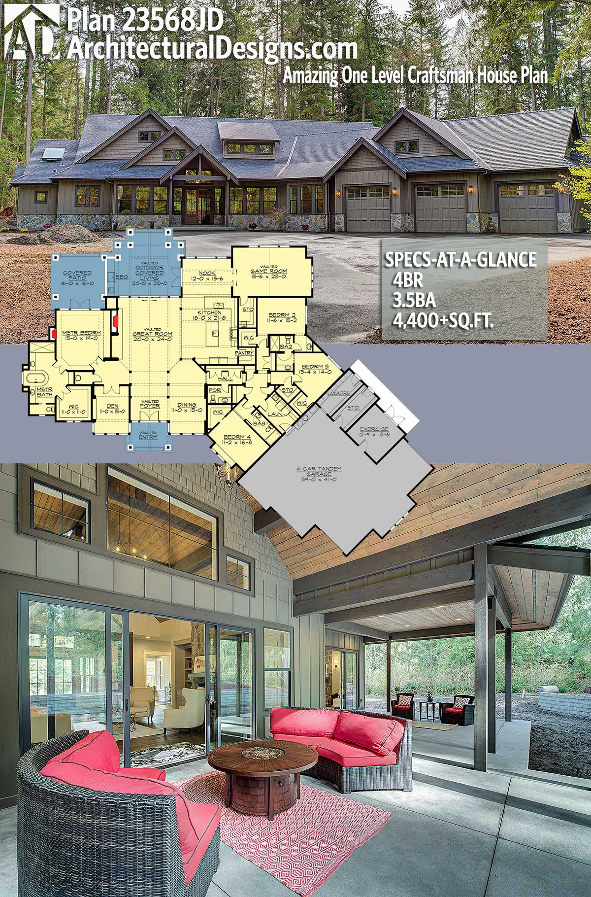 Plan 23568jd Amazing One Level Craftsman House Plan Architectural Design House Plans Craftsman House Craftsman House Plans