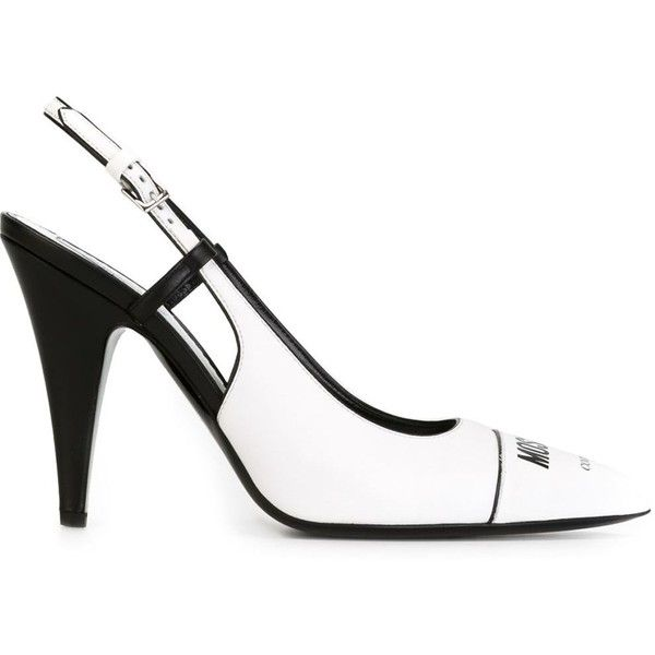 Moschino slingback pumps ($585) ❤ liked on Polyvore featuring shoes, pumps, white, white pointed-toe pumps, white pumps, pointed toe pumps, high heel shoes and slingback pumps
