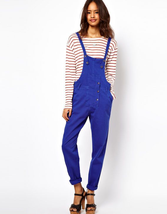 colored denim overalls