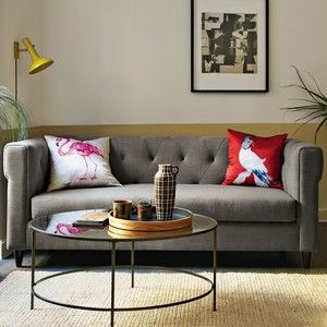 West Elm Foxed Mirror Coffee Table and a nice grey sofa Living