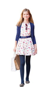 20b9923ee A classic Autumn look comprising of a patterned dress, belt and tights for  10-16 year old girls available at Babyshop.