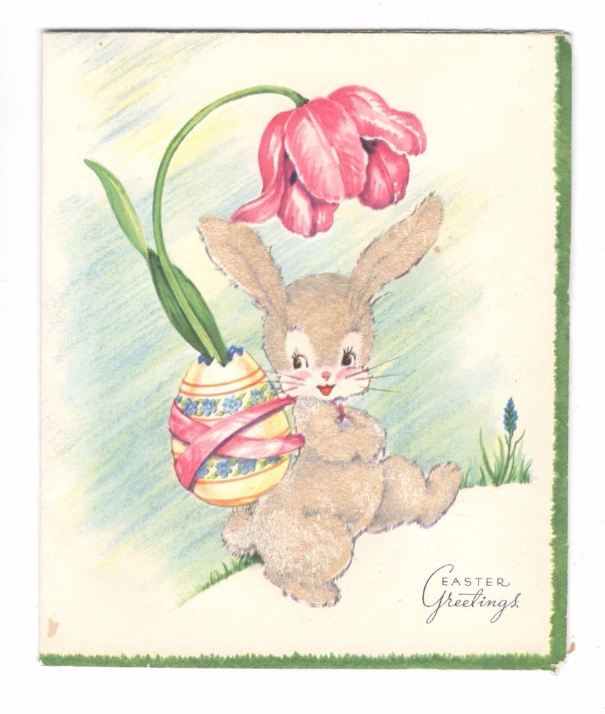 Vintage Easter Greeting Card Bunny Tulip Egg Unused Easter
