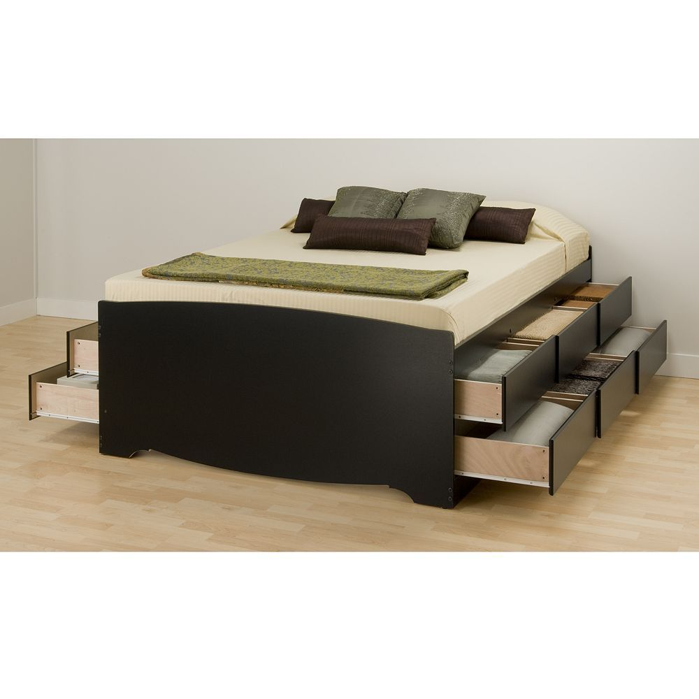Prepac Queen 12 Drawer Platform Storage Bed Black Storage Bed