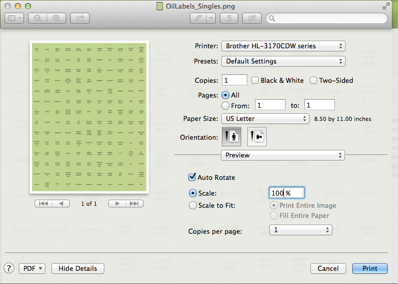 PrinterSettingsForOilLabels