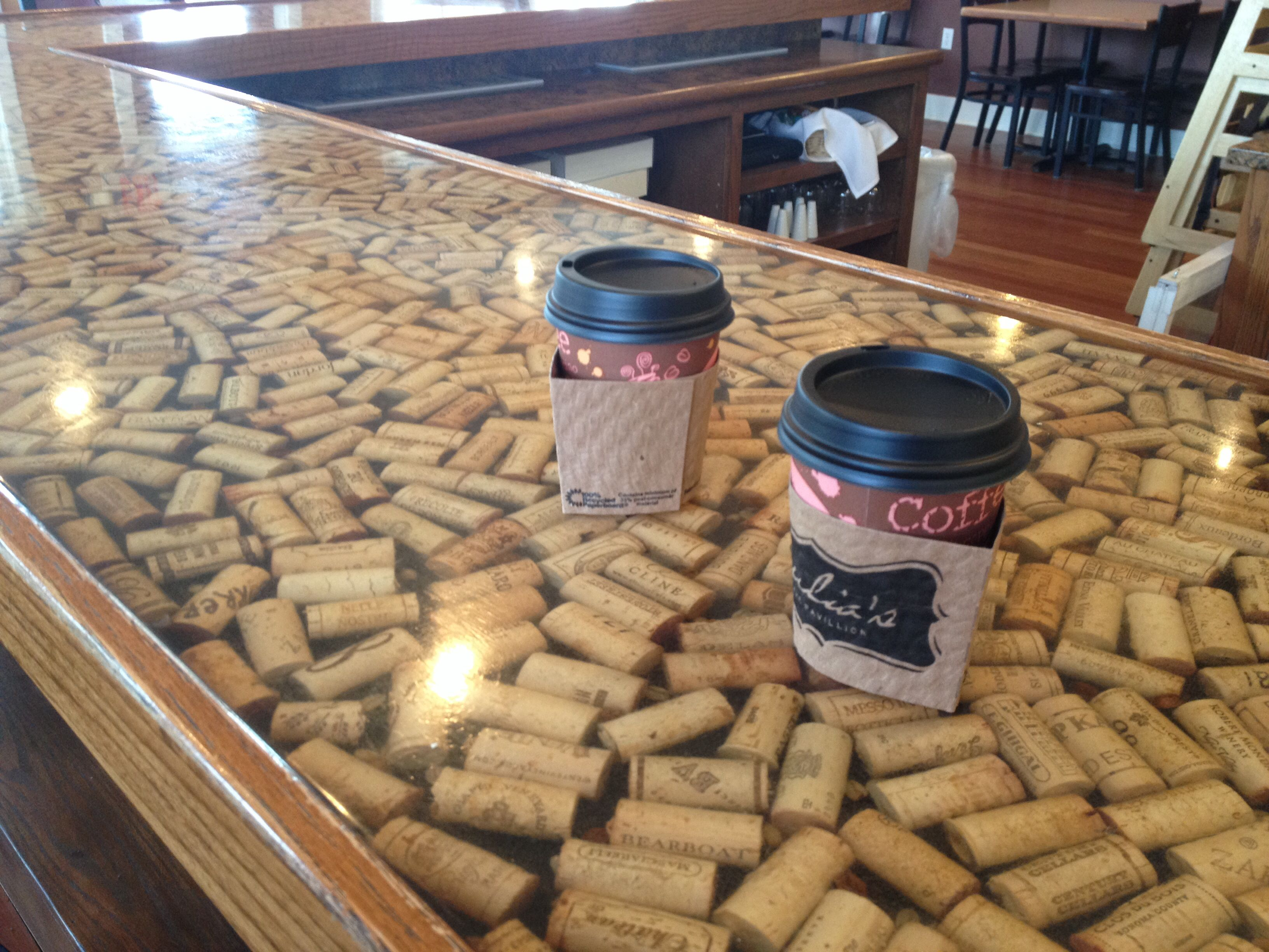 Wine cork countertop