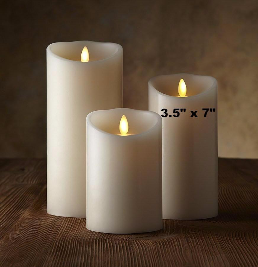 """3.5""""x 7"""" Luminara Classic Pillar - Ivory Vanilla Scented"""