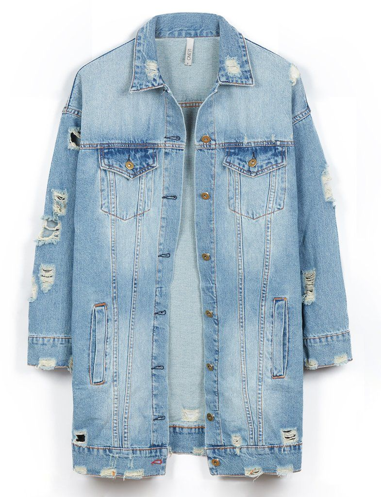 LE3NO Womens Vintage Oversized Distressed Ripped Denim Boyfriend Jacket 609dc192f7