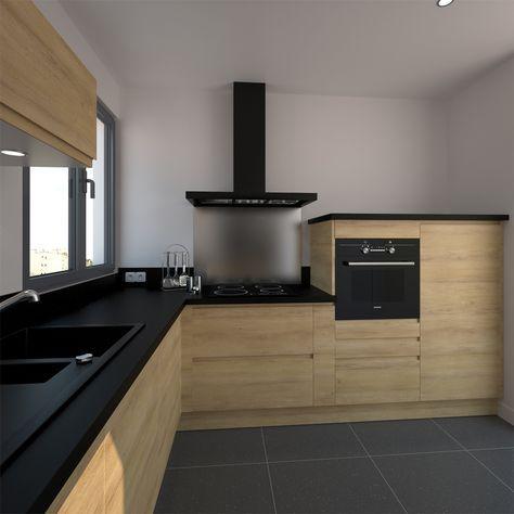 Petite cuisine moderne avec façades en bois sans poignée (système de