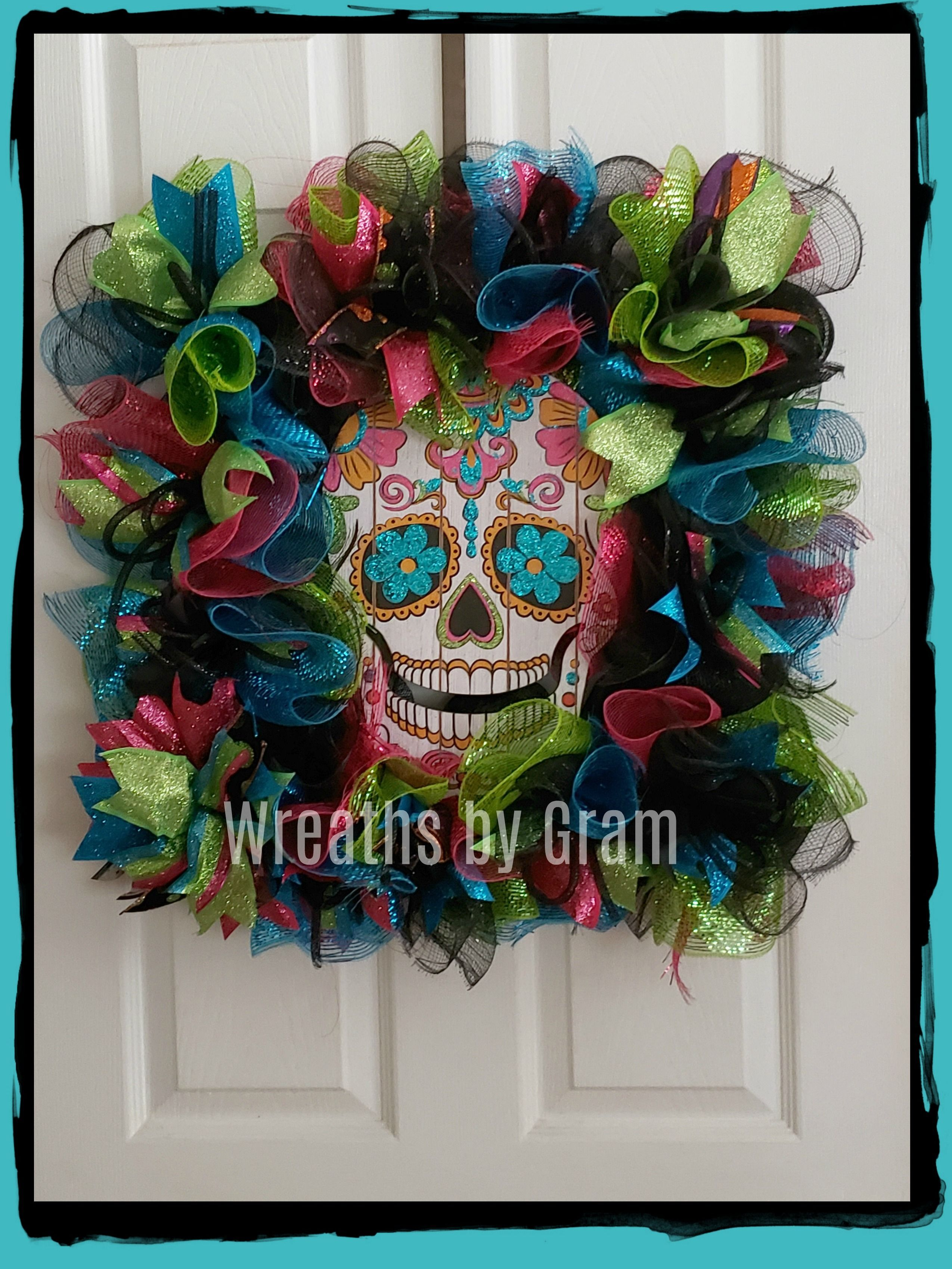 Day Of The Dead Party Decorations Ideas Sugar Skull Wreath