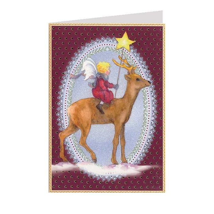 Burgundy Fairy and Reindeer Christmas Card ~ Germany - Wendy Schultz ~ Free Digitals & Printables.