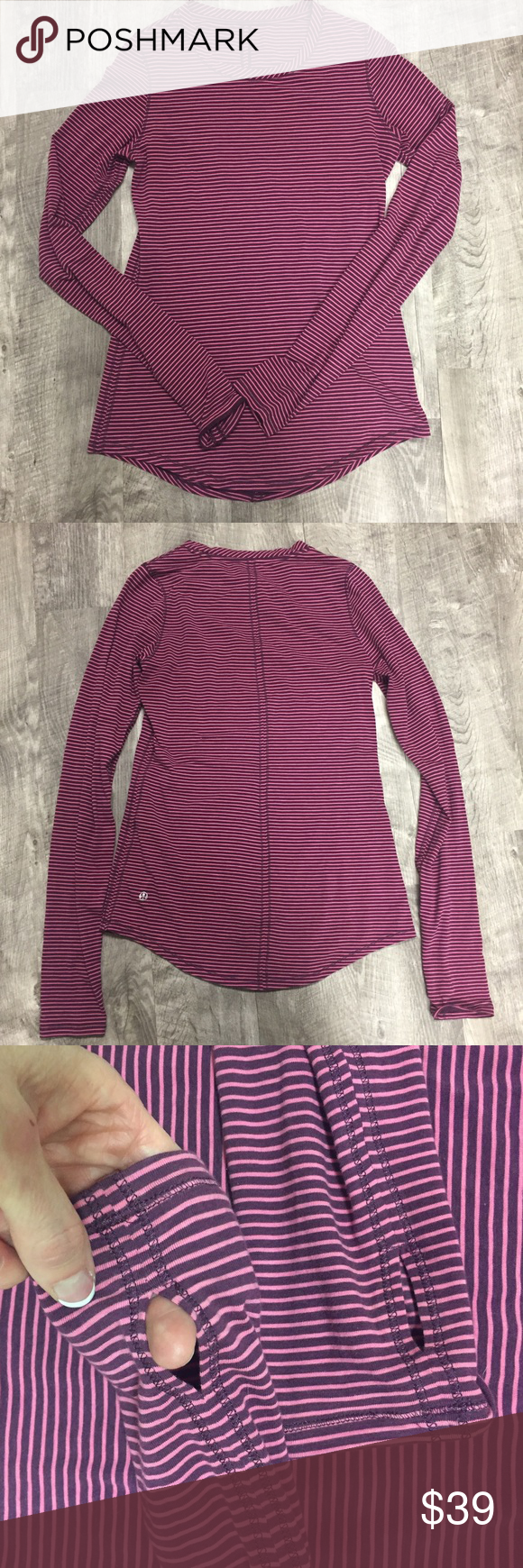 Lululemon Striped Long Sleeve Shirt Top Lululemon Striped long Sleeve top with thumbholes. Thinner material. No size dot but it appears to be an 8 (possibly 10).  Please see actual measurements though. Good used condition. Shows normal wash wear but no holes or stains. lululemon athletica Tops Tees - Long Sleeve